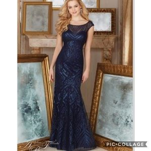 Angelina Faccenda by Mori Lee Navy Sequins Gown